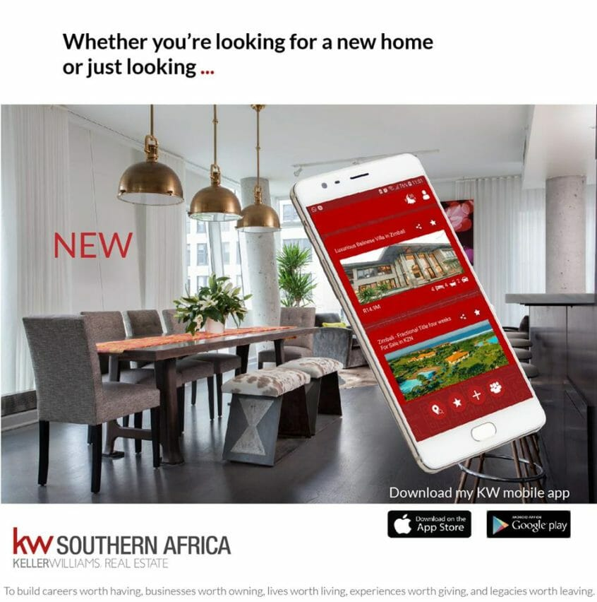 Image of the KWSA Mobile App available to Overberg and Overstrand KW estate agents and their clients
